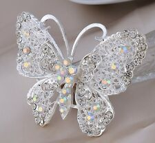 LARGE SILVER WHITE FILIGREE BUTTERFLY CZ DIAMANTE RHINESTONE CRYSTALS BROOCH PIN