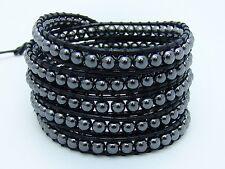 5 AVVOLGI il Bracciale tutti 4mm perline ematite Moda braccialetto di pelle nera