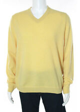John W Nordstrom Men's Yellow Cashmere V Neck Sweater Top Size Large