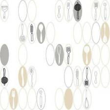 Wallpaper Modern Retro Kitchen Utensils & Ovals Black Silver and Tan on White