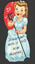 Vintage Valentines Day Card Radio MusicHall Singer Girl w/Heart Shape Microphone
