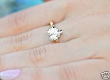 2.0 CT Heart Shaped Cut Solitaire LOVE Engagement Ring Solid 14k Yellow Gold