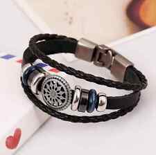 Cool Hot Charms Men Women Leather Braided Cuff Wrap Buckle Bangle Bracelet
