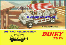 Dinky Toys 106 The Prisoner Mini Moke 1967 A3 Size Poster Advert Leaflet Sign