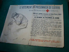 original WWI poster: LE VETEMENT OU PRISONNIER DE GUERRE red cross