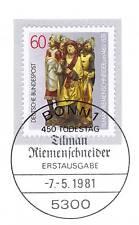 BRD 1981: Tilman Riemenschneider Nr. 1099 mit Bonner Ersttags-Stempel! 1A! 154