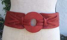 Red Leather Belt - Wide with Velcro Closure - 41 inches