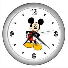 """Brand New Mickey Mouse Black Frame 10"""" Round Wall Clock"""