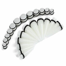White Ear Stretching Kit Plugs & Tapers Set 24pc Gauges  00G-20MM