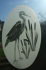 "Frosted Glass Look HERON Window Decoration 10.5""x16"""