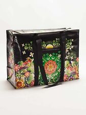 "Blue Q Moon Garden Flowers & Plants Black Shoulder Tote Bag 15"" Shopping Yoga"