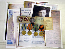 VINTAGE USSR RUSSIAN SET of SILVER ORDERS AND MEDALS with DOCUMENTS