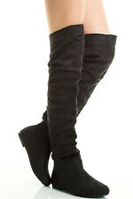 SLOUCHY FLAT HEEL CLOSED TOE OVER THE KNEE THIGH HIGH PULL ON WOMEN BOOT US SZ 8