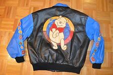 Vintage VTG Mens Large Winnie the Pooh Full Zip Leather Jacket Sewn Patches