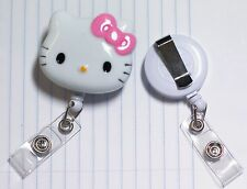 """Hello Kitty 45mm / 1.9"""" Retractable Reel ID Badge Holder_pink Bow 1pc"""