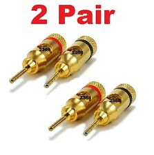 2 PAIR  OF High-Quality Copper (non-banana) Speaker Plugs - Pin Screw Type