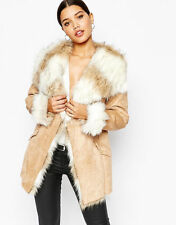 MICHELLE KEEGAN LIPSY SZ 12 FUR COLLAR/ CUFF BELTED COAT BNWT RRP £140 RARE FIND