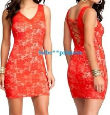 NWT bebe red overall lace lace up v neck bodycon skirt top dress sexy M Medium