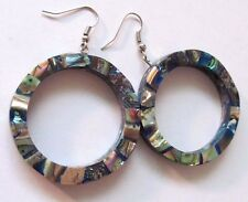 Vintage Abalone Shell Hoop Earrings  Big Fat & Gorgeous!  Shell Chips On All