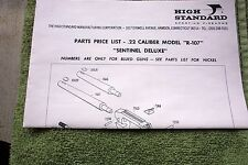 High Standard .22 Caliber Model R-107 Owners Manual Parts List, good ref info
