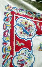 Vintage 40s 50s CALIFORNIA HAND PRINTS Tablecloth 51 x 47 Mexican theme