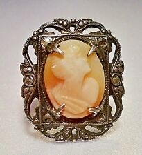 """STERLING"" Markd Victorian Cameo Ring, LG (1x.625""; 7G) Frame, Dense Patina; S-3"