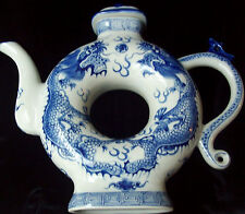 """Beautiful Fine Vintage Chinese Blue & White Dragon Donut Hole Teapot W/Lid 9/12"""""""