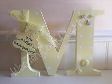 LARGE Wooden Personalised Letter Initial Freestanding Baby Girl Boy Gift