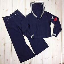 WW2 US Navy Uniform Jumper Trouser Wool Blue Stripes Crackerjack Seabee Patch