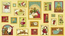 Nancy's Holiday Favourites Greetings Card Panel Quilting Fabric - Christmas
