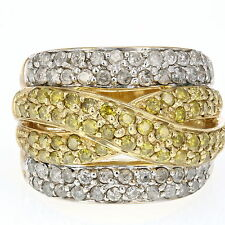 2 CT Yellow and White Diamond Cocktail Ring 10K Yellow Gold Size 7
