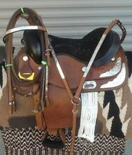"""14"""" NEW SHOW TAN LEATHER PLEASURE TRAIL WESTERN SADDLE PACKAGE WITH SHOW BAR"""