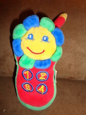 """Cell Phone Baby Rattle 6"""" Stuffed Plush Maple Leaf Toys Red Blue Green"""
