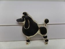 JEWELCRAFT SIGNED VINTAGE BLACK ENAMEL POODLE BROOCH!