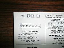 1966 Kaiser Jeep Series J Models 230 CI L6 SUN Tune Up Chart Great Condition!