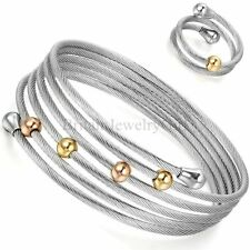 Fashion Womens Elastic Adjustable Stainless Steel Bracelet Ring Jewelry Set