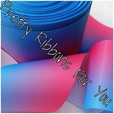 "Ombre pink and blue 1.5"" grosgrain ribbon the listing is for 5 yards multi color"