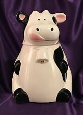 """LARGE 10"""" TALL HOLSTEIN DAIRY COW SITTING UP RIGHT -  CERAMIC COOKIE JAR"""