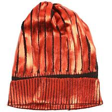 Winter Metallic Shiny Chunky Thick Knit Party Beanie Skull Ski Hat Cap Red