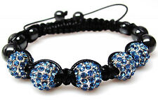 Blue Shamballa Beaded Crystal Rhinestone Hematite Hip Hop Bracelet  NEW