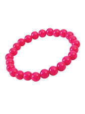Fancy Dress Neon Plastic Beads Hot Pink Bracelet 70's & 80's Pop Art Accessory