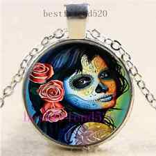 Sugar Skull Girl Photo Cabochon Glass Dome Silver Chain Pendant Necklace