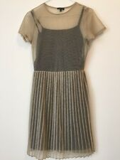 Warehouse Sheer Gold 90s Party Mini Pleat Dress Size S/8