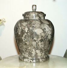 Classic Oceanic Marble Gray and White Colored Adult Funeral Cremation Urn