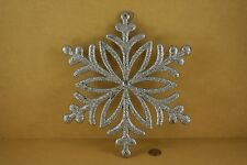 SET of 2 Jumbo SILVER GLITTER SNOWFLAKE w/ JEM Hanging Christmas Ornament 10.5""
