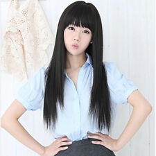 New style black Fashion Long Straight Women's Girl Full Hair Wigs Cosplay Party