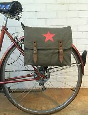 Vintage OD Green Star Logo Military Surplus Style Messenger Bag Bicycle Pannier