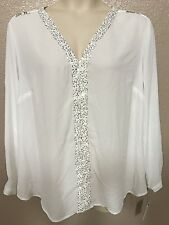 $54 NY Collection Womans Plus 2X White Sequin V-Neck Chain Link Shoulder Blouse