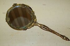"""Vintage Solid Brass Antique two sided w magnification Hand Mirror Art Deco 11"""""""