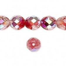 9053 Czech Firepolished Round Beads 10mm Crystal Red 16 inch *UK EBAY SHOP*